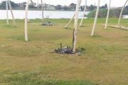 Lixo de festa vira ato de vandalismo em escultura do Parque Maracá